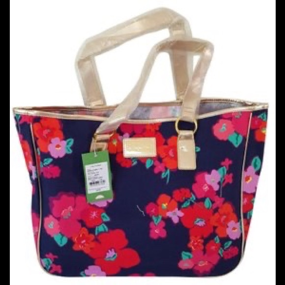Lilly Pulitzer Handbags - Lilly Pulitzer navy garden game print tote